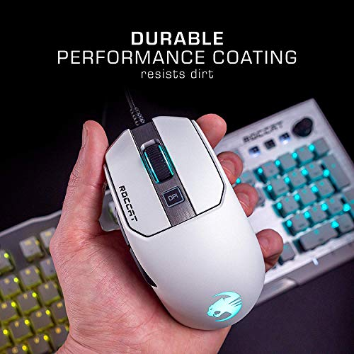 Roccat Kain AIMO RGB Gaming Mouse (16,000 Dpi Owl-Eye Sensor, 89G Lightweight, Titan Click Technology), White