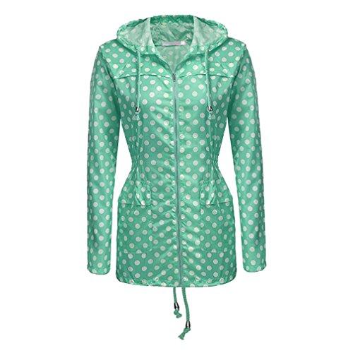 Yying Damen Jacken Wasserdichte Kapuzenmantel Winddichte Warme Jacke Regenjacke Mäntel Windbreaker Green-Dot L