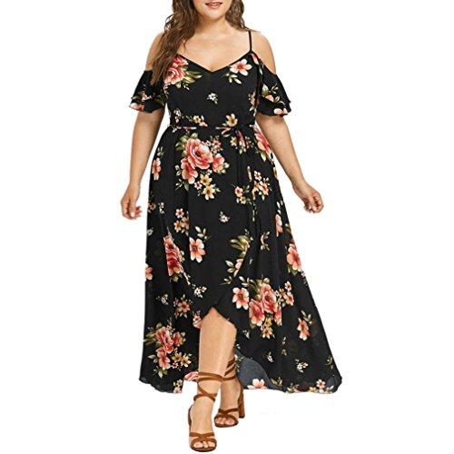 lotus.flower 2018 Plus Size Women Casual Short Sleeve Cold Shoulder Boho Flower Print Long Dress (L, Black)