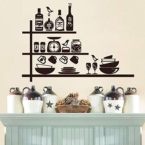 Keramik Gewürzregal Kreative Küche Wandaufkleber Wasserdichtes Vinyl Abnehmbares Wasser Home Küche Dekoration Wandaufkleber Dekoration Küchenaufkleber Wandaufkleber