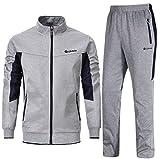 YSENTO Chándal completo para hombre, ideal para jogging y gimnasio, transpirabilidad del sudor, cuello alto, pantalones Gris gris L
