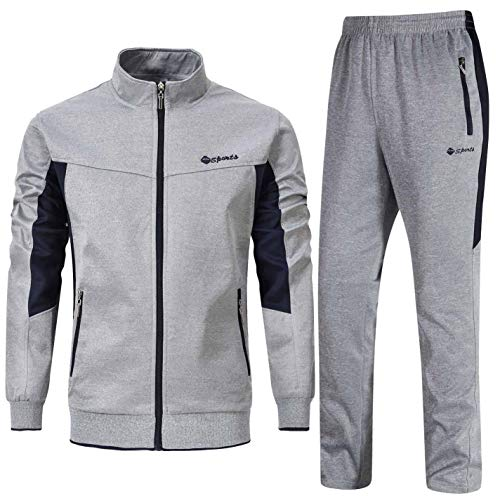 YSENTO Herren Trainingsanzug Jogginganzug Sportanzug Jogginghose Sporthose und Trainingsjacke Gym Sportbekleidung(Grau,S)