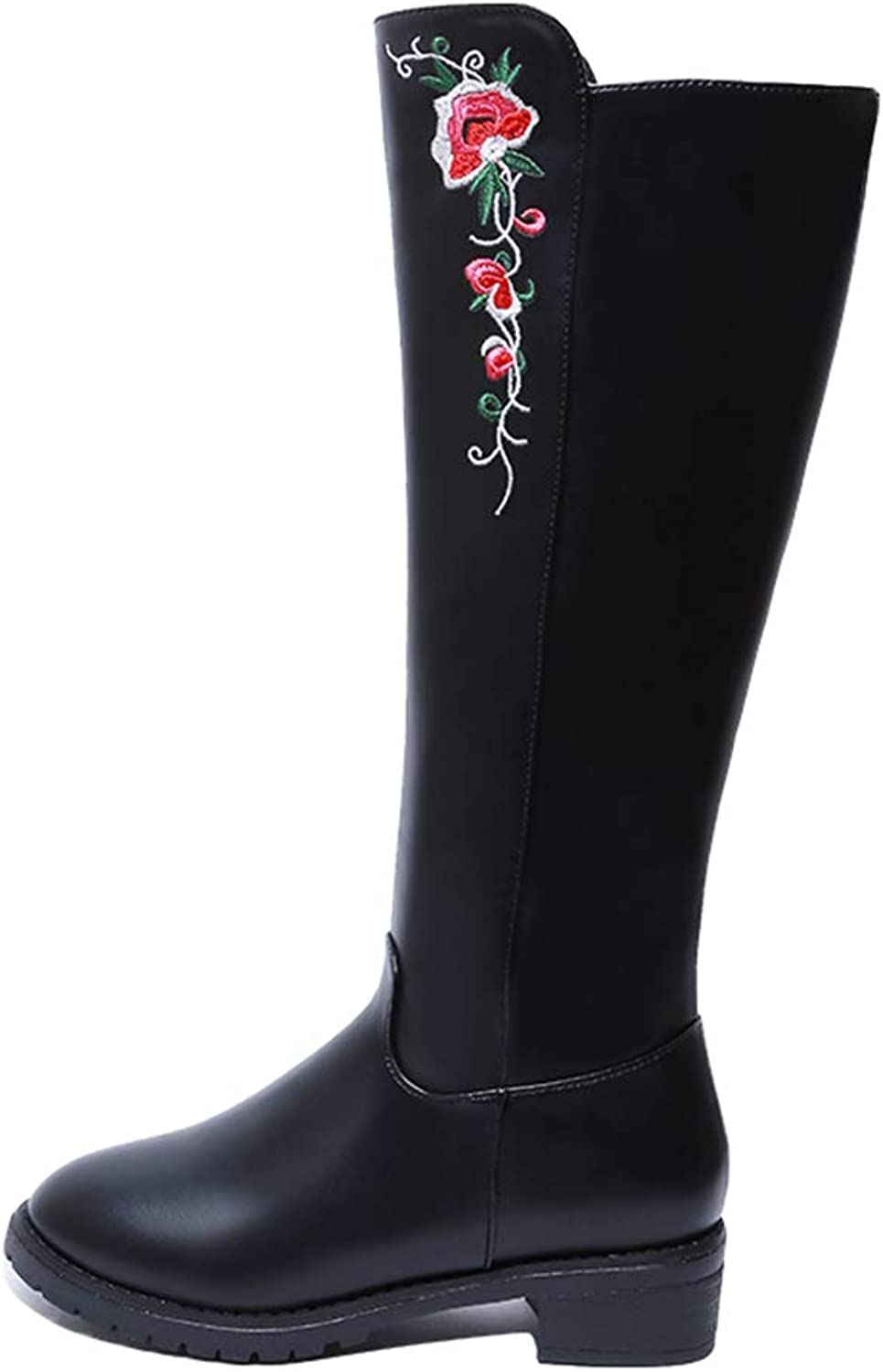 Women Fashion Embroidered Knee-high Boots Med Heel Winter Slip-on Casual Long Booties