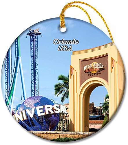 USA America Universal Studios Florida Orlando Ornaments 2.8 inch Ceramic Round Holiday Ornament Pandent for Family Friends