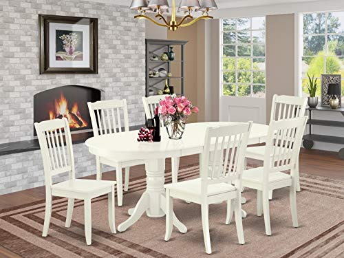 7 Pc Dining-Room Set Dining Table With Self Storing Leaf And Six Wood Seat Dining Chairs