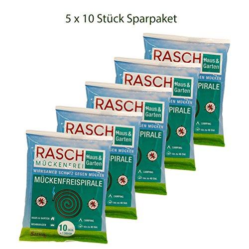 Rasch muggenvrijspiraal - 5 x 10 stuks voordeelset - tegen muggen buitenshuis (tot 200 uur)
