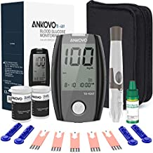 ANKOVO Blood Glucose Monitor Kit, Diabetes Testing Kit with Blood Glucose Meter, 100 Blood Test Strips, 100 Counts 30 Gauge Lancets and Carrying Case, Control Solution, Lancing Device, No Coding