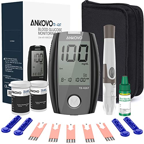 Blood Glucose Monitor Kit, ANKOVO Diabetes Testing Kit with Blood Glucose Meter, 100 Blood Test Strips, 100 Counts 30 Gauge Lancets and Carrying Case, Control Solution, Lancing Device, No Coding