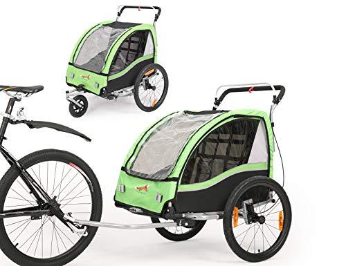 Fiximaster Bt503 Remorque de vélo/poussette 2 en 1 avec frein à main/suspension Vert