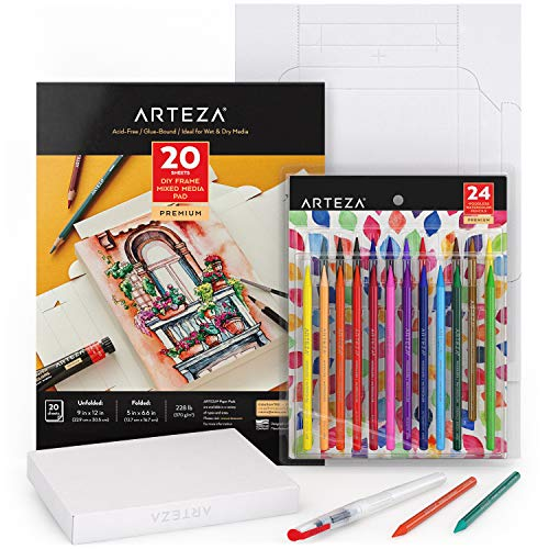 Arteza Watercolor Drawing Art Set, Woodless Watercolor Pencils 24 and Foldable Canvas Paper Bundle, DIY Kit, Art Supplies for Kids and Adults