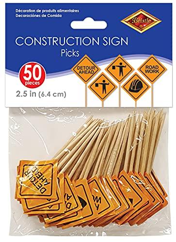 Beistle, 2 1/2-Inch, Orange/Black Construction Sign Food Picks