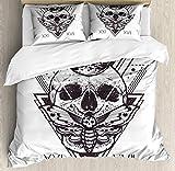 XOXUN Juego de Funda nórdica Death Moth, Geometry Skull Dead Head Alchemy Hipster Tattoo Style Art, Juego de Cama Decorativo de 3 Piezas con 2 Fundas de Almohada, Azul Gris