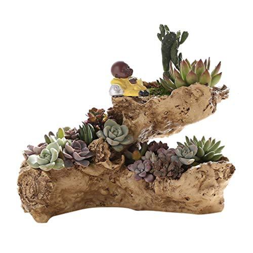 Yardwe Artificial Driftwood Planter, Stump Log Resin Succulent Planter Pot Creative Vintage Gardening Pots Imitation Wood Flower Pot (Without Plant)