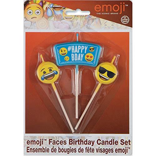 Unique Party 50940 50940-Emoji Birthday Candle Set, Set of 3