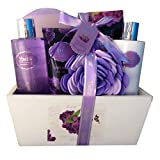 Spa Gift Basket, Spa Basket with Lavender Fragrance, Lilac color by Lovestee - Bath and Body Gift Set, Includes Shower Gel, Body Lotion, Hand Lotion, Bath Salt, Flower Bath-Body Sponge and EVA Sponge review
