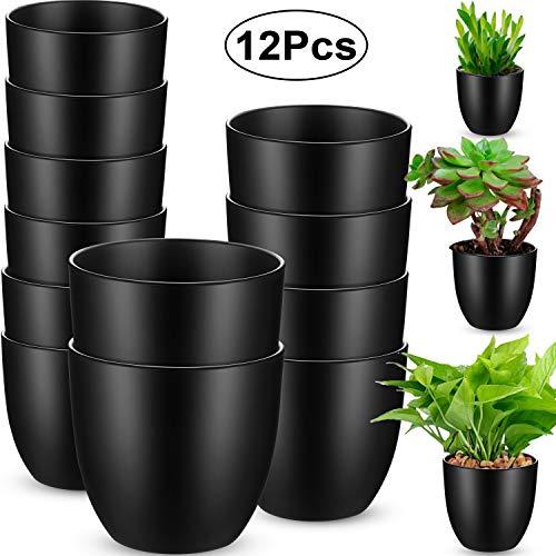 12 Stücke Schwarze Plastik Töpfe Pflanzgefäße Indoor Blumentöpfe Moderne Dekorative Pflanzgefäße für Garten, Blumen, Pflanzen, Amaryllis und Laubpflanzen, 3 Größen (3,7, 4,5, 5,5 Zoll)