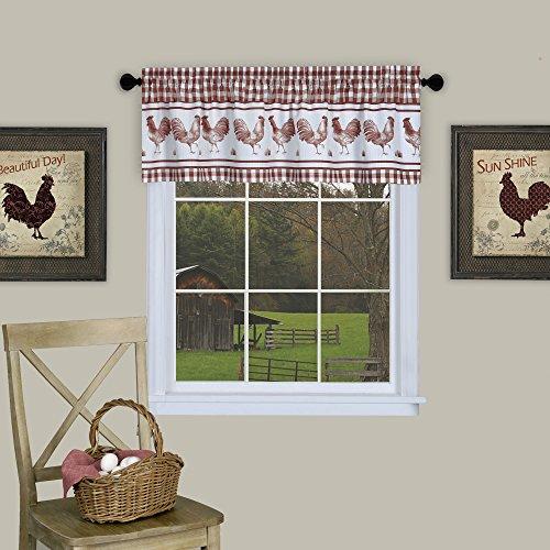 "Achim Home Furnishings BRVL14BG12 Barnyard Window Curtain Valance, 58"" x 14"", Burgundy"