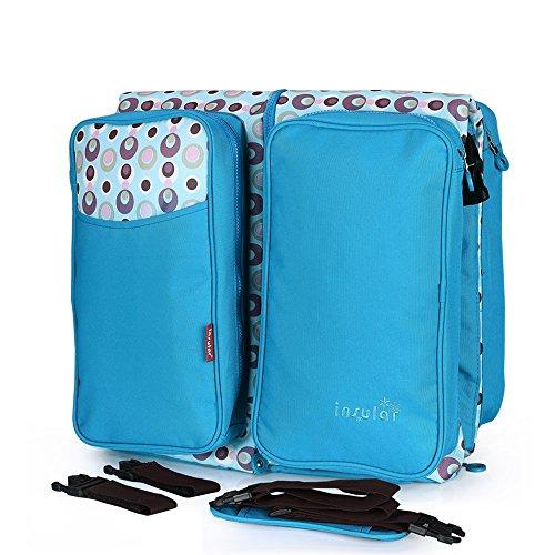 Bright Love Lit De Bébé Pliant Multifonctionnel avec Moustiquaire Oblique Grande Capacité Sac De Momie Maternelle Et Enfant Sac,Blue