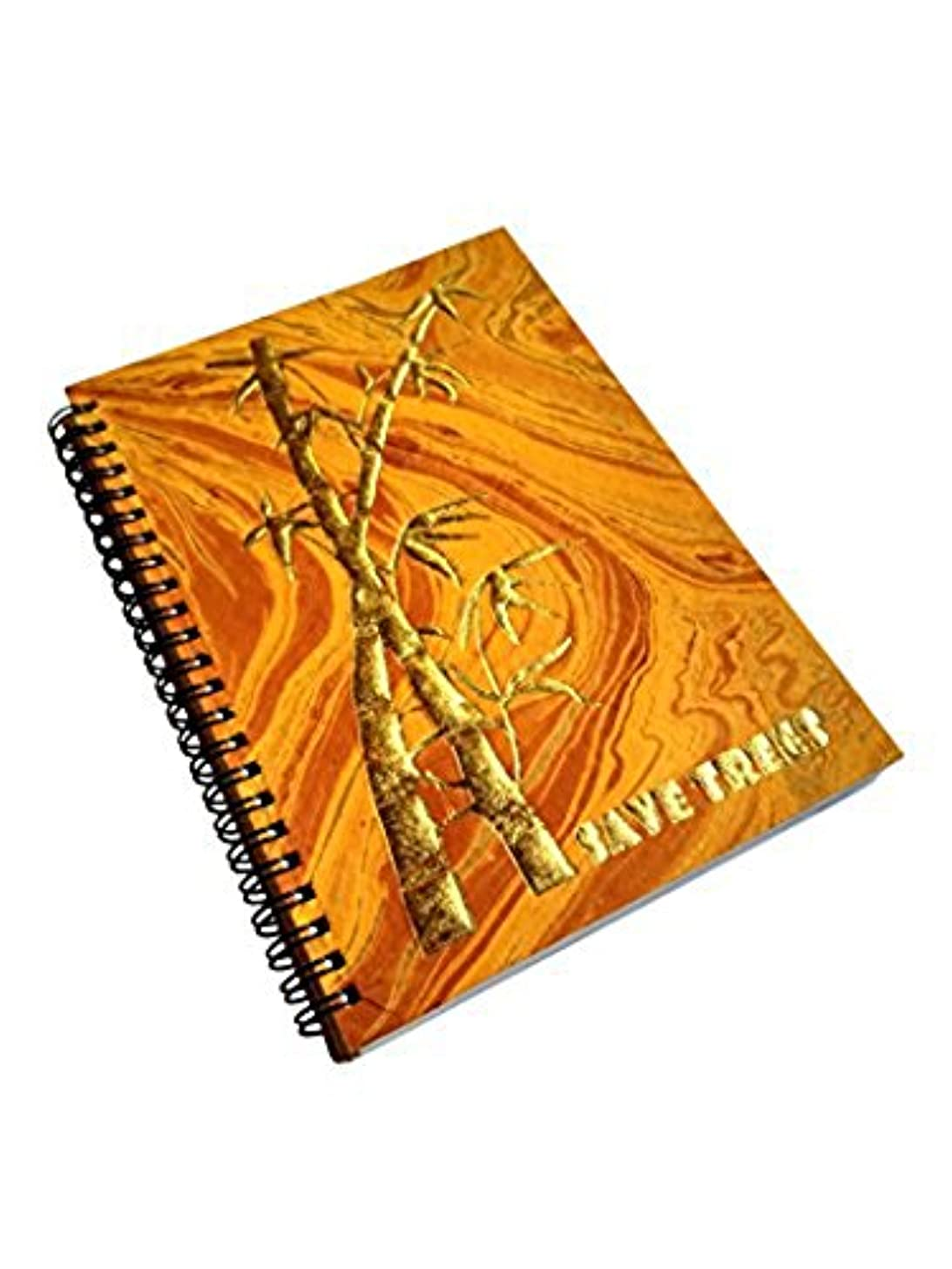 A5 Handmade Notebook, 100% Cotton, 120gsm,120 Pages, Golden Yellow Marbled Paper with Gold Embossed Artistic Design