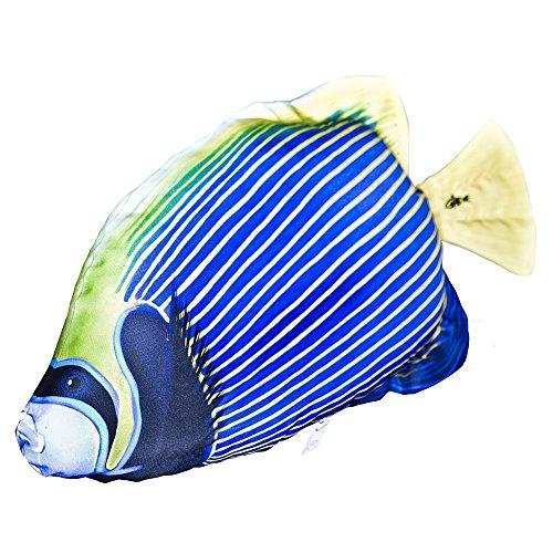 GABY Fish Pillows Emperator Angelfisch Kissen, Polyester, weiß, Medium