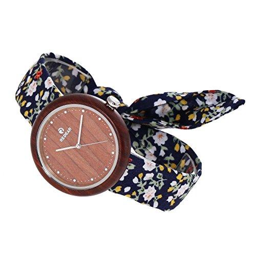 Onbekend dameshorloge van hout, mode, linnen band, kwartshorloge, analoge horloge, klassieke horloge, wijzerplaat van walnoot/benhout, geschikt voor Moederdaggeschenk, verjaardagscadeau Amazon hete
