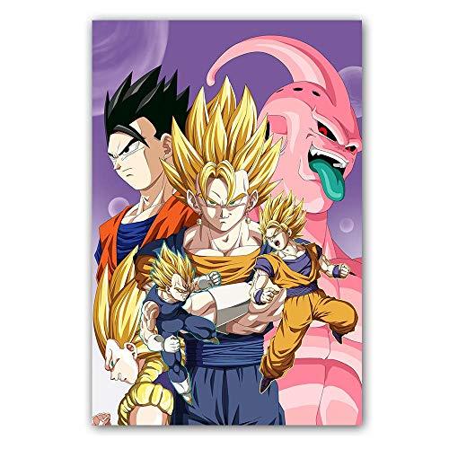 SDFSD Kreativer Film Cartoon Poster Dragon Ball Z Charakter Goku Ultra Instinct Leinwand Malerei Wandkunst Wohnzimmer Bild 80 * 120cm