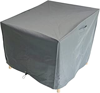M&H Heavy Duty Waterproof Patio Large Chair Cover - Outdoor Cover with Padded Handles and Durable Hem Cord - Weather Resistant, Fits Single or Stack, 38 x 35 x 31 inch, Taupe