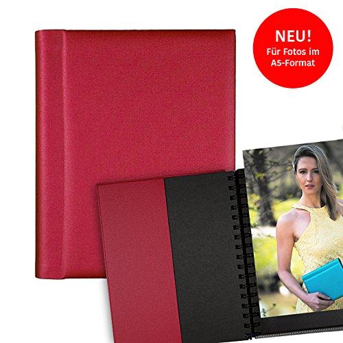 Modelmappe Fotomappe Modelbuch Modelbook A5 Rot für 30 Fotos im A5-Format, Portfoliomappe Portfolio Mappe Fotografie, austauschbare Hüllen, Modelmappe Sedcard