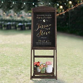 RHF Wedding Chalkboard Signs,Rustic Wedding Decorations,A-Frame Easel Chalkboard Sign with Display Shelf,Vintage Large Chalkboard Easel Freestanding Easel Message Board  44 Inch,Natural  1 Set