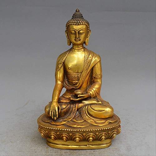 LBYLYH - Figura decorativa para el hogar, diseño de budista tibetano Shakyamuni, bronce tibetano, estatua de Buda tibetano, metal y decoración de escritorio