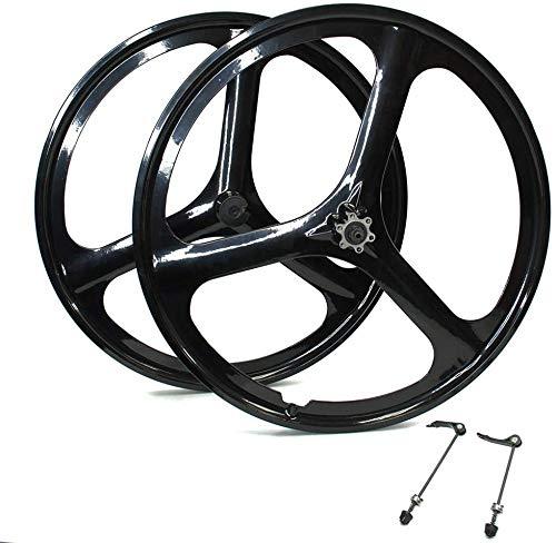 CAISYE Bike Front Wheel Rear Wheel 700C MTB Bike Mag Magnesium Wheels 3-Spoke Set Rim Wheelset 6/7/8/9/10 Gears (6/7 Speed Wheelset), Magnesium Alloy One-Piece Wheel 700C Three Knife Bicycle Set