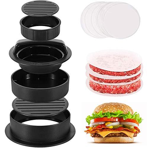 Pressa per hamburger farcita antiaderente, 100 fogli di carta antiadesiva in omaggio, Stampo per hamburger di dimensioni diverse 3 in 1 per hamburger,Accessori per grigliare per barbecue da cucina
