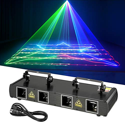 DNYKER Mini DJ Lights Party Lights 4 Beam Effect Sound Activated Strobe Light RGBY LED Music Lights by DMX Control for Disco Dancing Birthday Bar Pub Stage Lighting