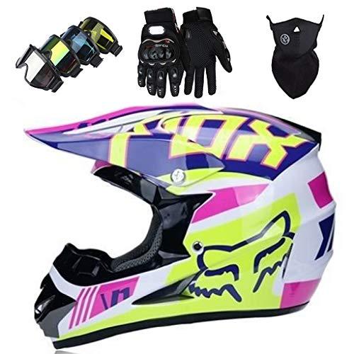 Casco Motocross, Cascos de Cross de Moto Niños con Diseño FOX, Set...