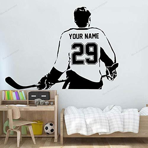 yaonuli muursticker voor hockeyspelers, selecteer uw naam en nummer voor het personaliseren van de decoratie