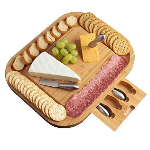 Cheese Board Set & Serving Platter - Natural Bamboo Charcuterie Tray With Seamless Cracker Well Keeps Hidden Drawer Clean - Includes 4 Knives - Larger Than Most Other Cheeseboards 15.75 x 13 inches