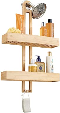 mDesign Wide Natural Bathroom Tub & Shower Caddy, Hanging Storage Organizer Center with 2 Levels for Shampoo, Body Wash, Loofahs - Rust Resistant - Bamboo