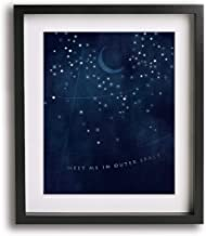 Stellar by Incubus inspired song lyric art print, romantic wedding anniversary gift idea moon space stars modern wall home decor gift idea for him