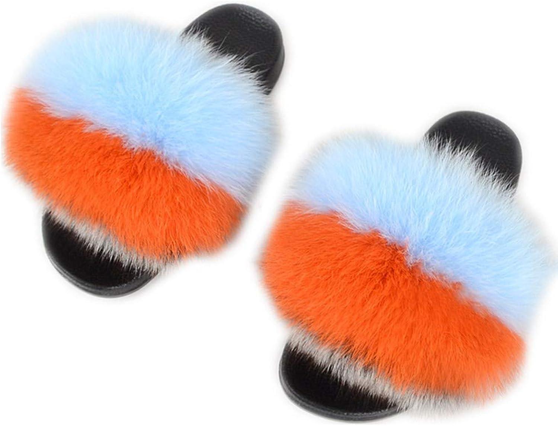 LIAOYLY Women's flip-Flops Toe Slippers Fox Fur Soft Slippers Flat Sandals Multicolor
