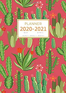 Planner 2020-2021: A4 Large Notebook Organizer with Hourly Time Slots   May 2020 to April 2021   Cute Summer Cactus Design...