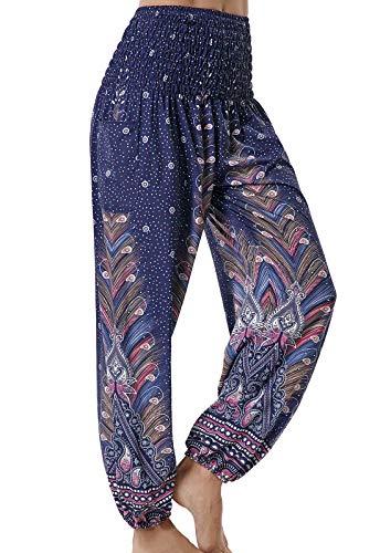 Pantalones de Yoga Mujer Harem Boho del Lazo del Pavo Real Flaral Funky #2 Flor Impresa-#2 Flor Impresa-C