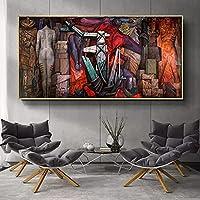 現代抽象有名な絵画アートポスターとプリントキャンバス絵画アートワークプリント壁アートリビングルームの家の装飾40x80cmフレームレス