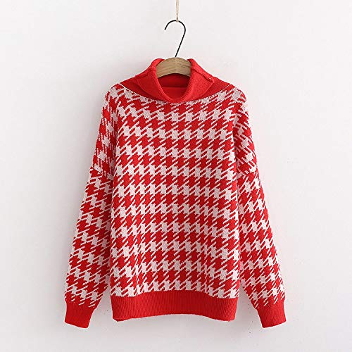GUORUIMIN trui voor vrouwen, rode modieuze winter coltrui en trui warme en dikke retro jumpers kleur jumpers