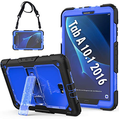 SEYMCY Samsung Galaxy Tab A 10.1 Case SM-T580/SM-T585/SM-T587, Rugged Shockproof Protective Strap Case with Kickstand, Kidsproof Sturdy Case for Galaxy Tab A6 10.1 inch 2016 Tablet SM-T580[Black/Blue]