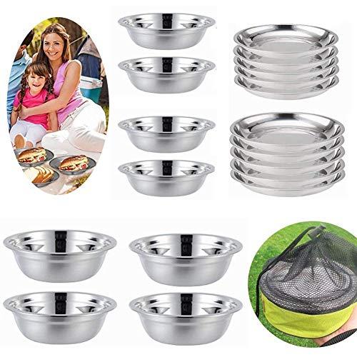 Cratone - Juego de platos de acero inoxidable, cuencos y cuenco para especias (16 piezas)