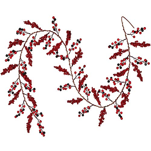 Lvydec Red Berry Garland Decoration - 6ft Artificial Berry Garland with Red and Black Berry Picks Bendable Stem for Holiday Fireplace Table Decoration
