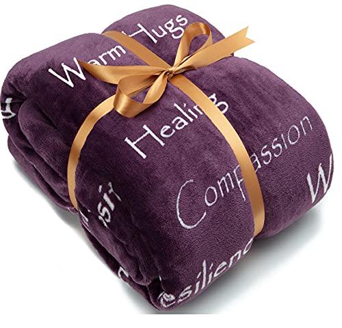 Chanasya Warm Hugs Positive Energy Healing Thoughts Caring Gift Throw Blanket - Sherpa Microfiber Comfort Gift Throw - Get Well Soon Gift for Women Men Cancer Patient - Aubergine Blanket