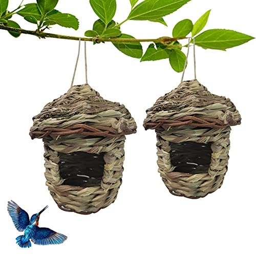 Hummingbird Houses for Outside, Hummingbird Nests for Outdoors ,Owl House,Hand Woven Straw Humming Bird Houses for Outside Hanging with Rope, Bird Hut for butterfly,Bird Lover Gifts(Pack of 2)