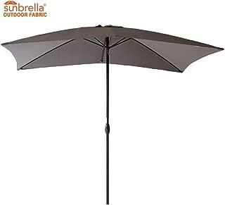 FLAME&SHADE Rectangle Sunbrella Outdoor Market Umbrella for Patio Table Café Terrace or Deck 6'6