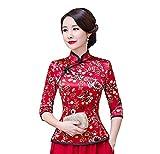 Shanghai Story Cheongsam Shirt 3/4 Sleeve Chinese Top Faux Silk Blouse XL Red